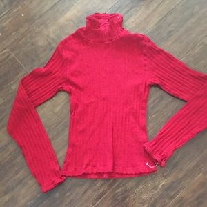 Ralph Lauren red mock turtleneck.